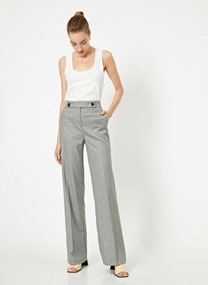 Koton Normal Bel Düğme Detaylı Ispanyol Paça Pantolon